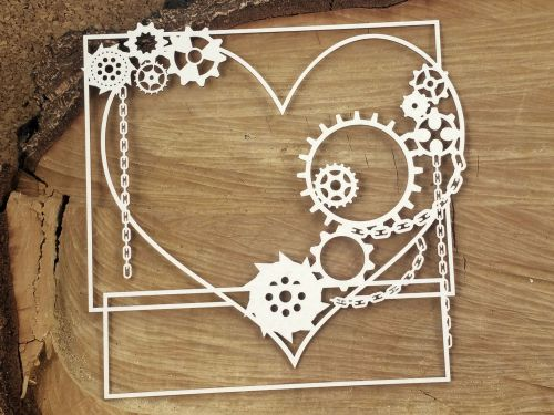 Steampunk Flying Hearts - Big Square Frame (4752)