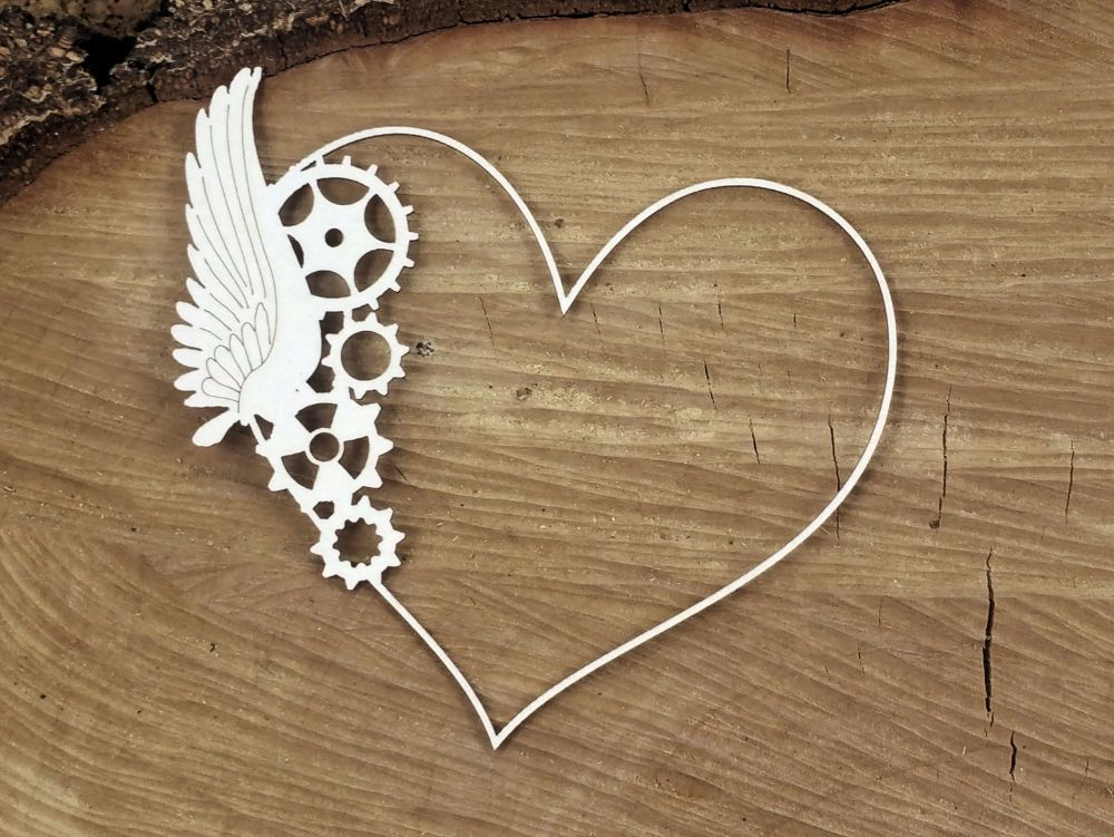Steampunk Flying Hearts - 1 Winged Frame (4754)