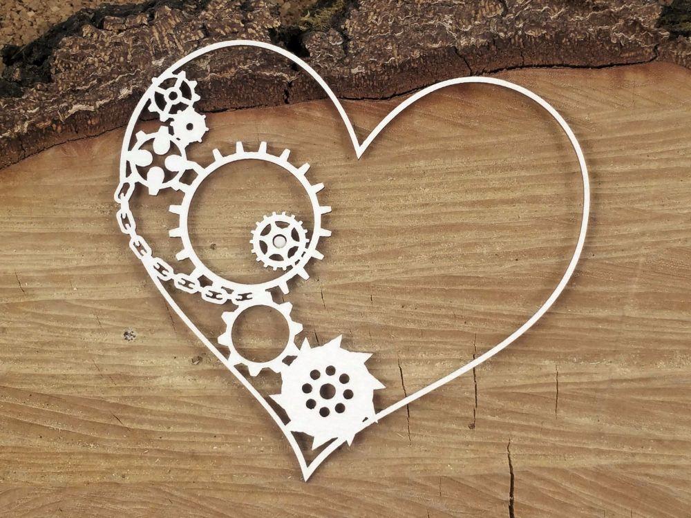 Steampunk Flying Hearts - Half Gear Heart (4755)
