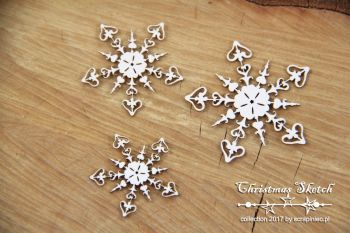Christmas Sketch - 3 Snowflakes (4870)