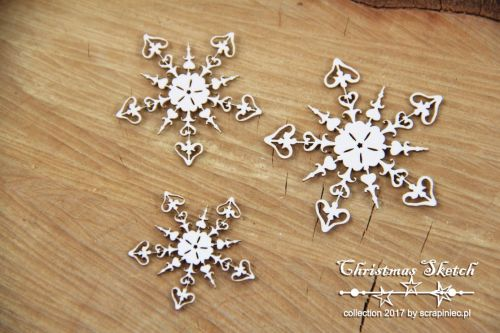 Christmas Sketch - 3 Snowflakes