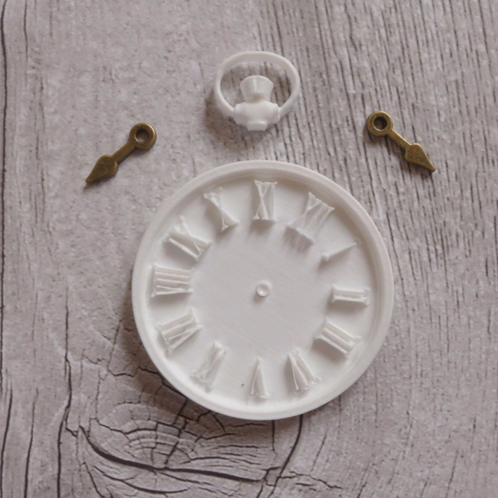 White Resin Clock & Bronze Hands