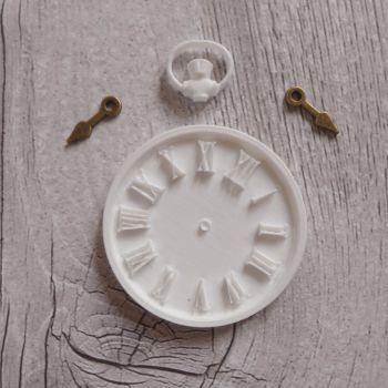 White Resin Clock & Bronze Hands