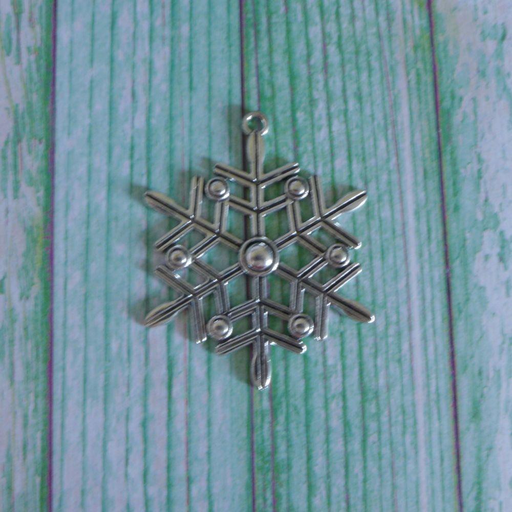 Large Silver Snowflake Charm
