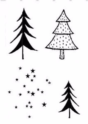 Creative Expressions A6 Rubber Stamps - Christmas Trees