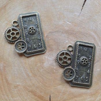 Rectangle Gears & Cogs Clock - (C088)