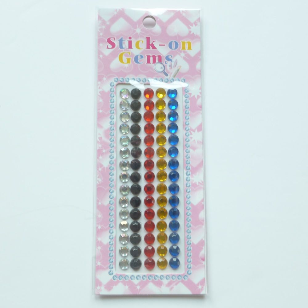 Stick On Gems Assorted Colour
