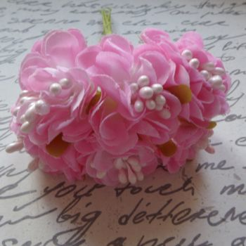 Fabric Flowers - Pink/White (F6002)