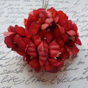 Highland Fabric Flower - Deep Red (F6017)