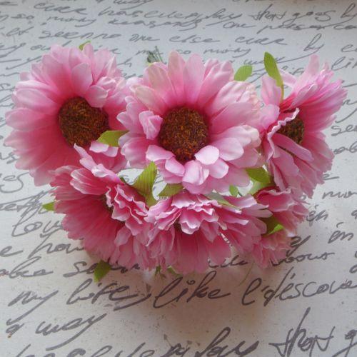Gebera Daisy Fabric Flowers - Pink (F6032)