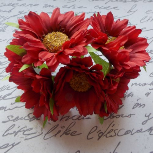 Gebera Daisy Fabric Flowers - Red (F6033)