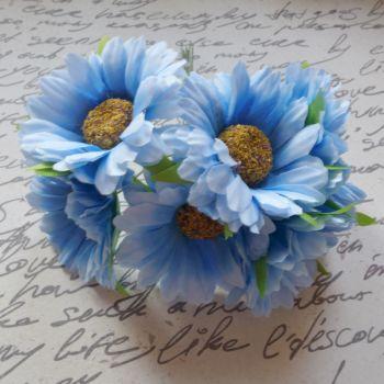 Gebera Daisy Fabric Flowers - Blue (F6036)
