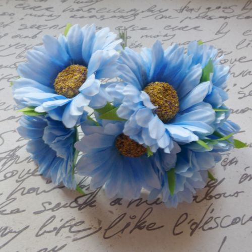 Gebera Daisy Fabric Flowers - Blue (F6036)