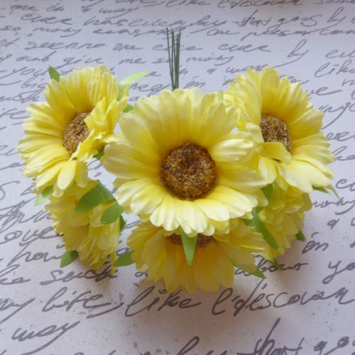 Gebera Daisy Fabric Flowers - Yellow (F6037)