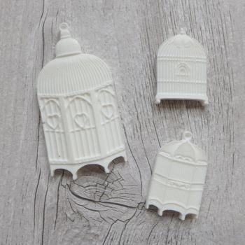 White Resin Birdcages (R7014)