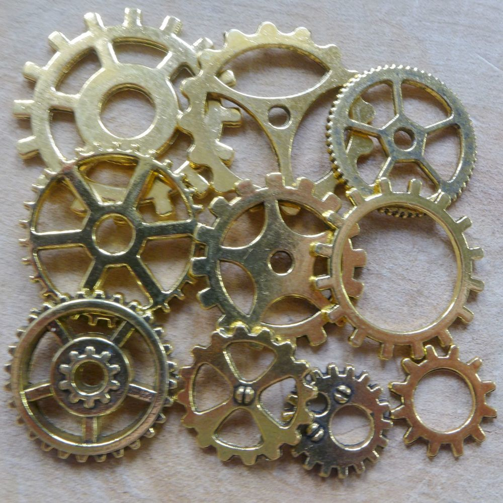 Steampunk Cogs & Gears Xharms - Gold (C105)