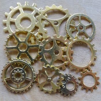 Steampunk Cogs & Gears Charms - Gold (C105)