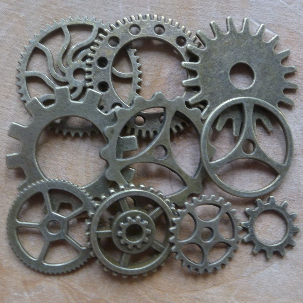 Steampunk Cogs & Gears Charms - Bronze (C106)