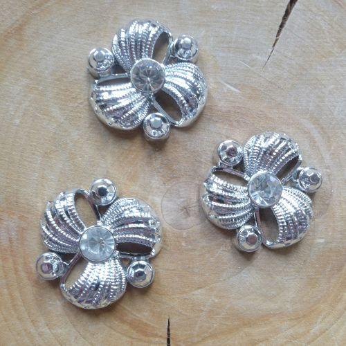 Sparkle Silver Flower Embellishments
