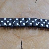 Ruffled Ribbon - Black Polkadot
