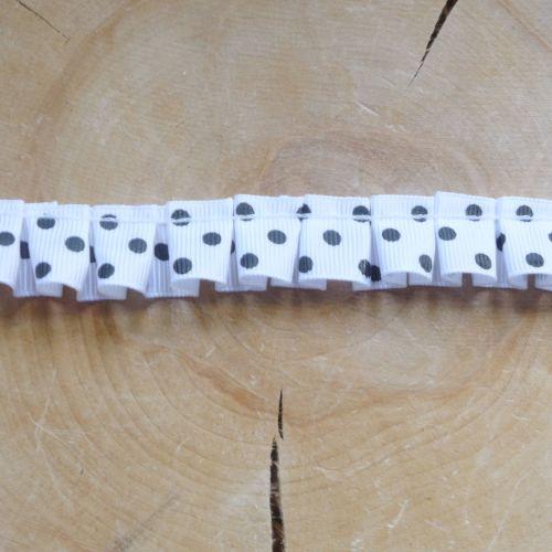 Ruffled Ribbon - White Polkadot