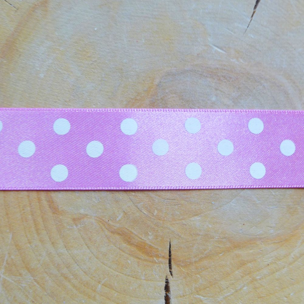 Polka-dot Satin Ribbon - Pink