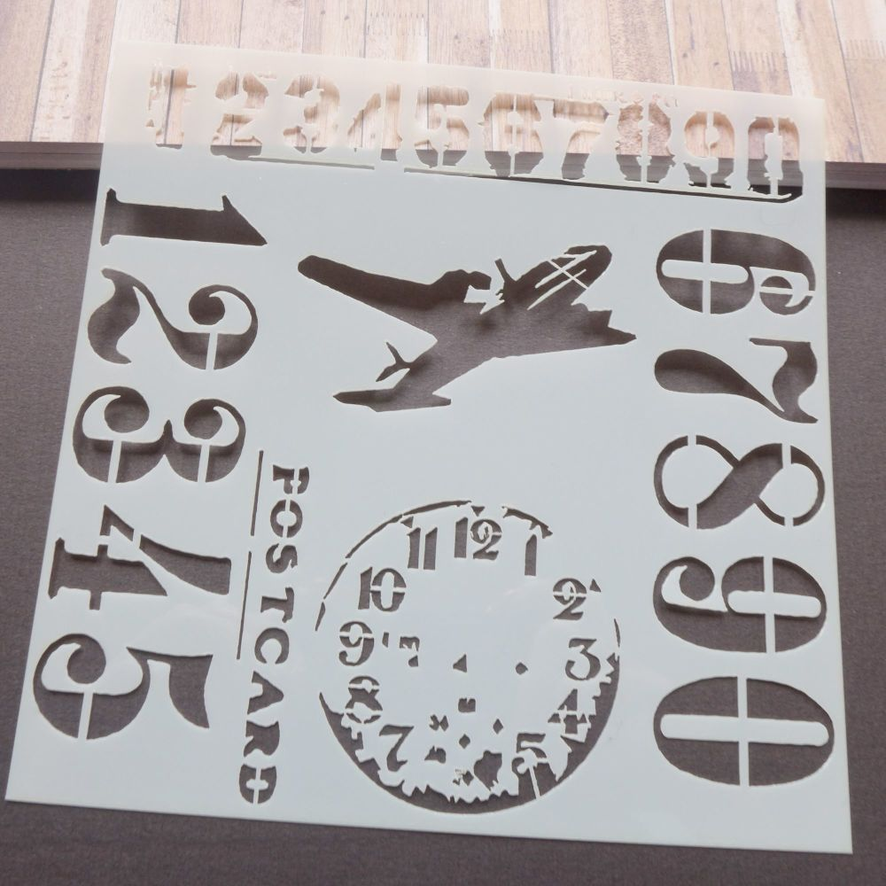 Stencils ~ Numbers/Aeroplane Mix