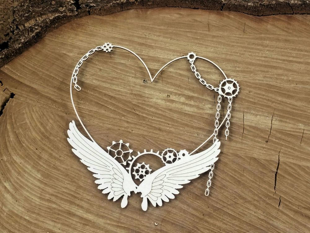 Steampunk Flying Hearts - Small Heart Frame (4753)