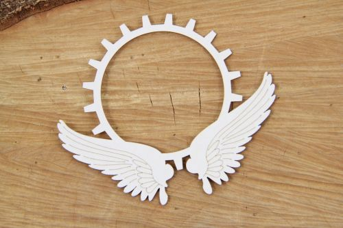 Steampunk Flying Hearts - Gear in Wings (4757)