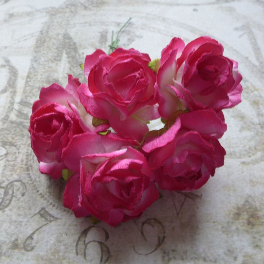 Puffy Mulberry Paper Roses ~ Hot Pink Blend (PF008)