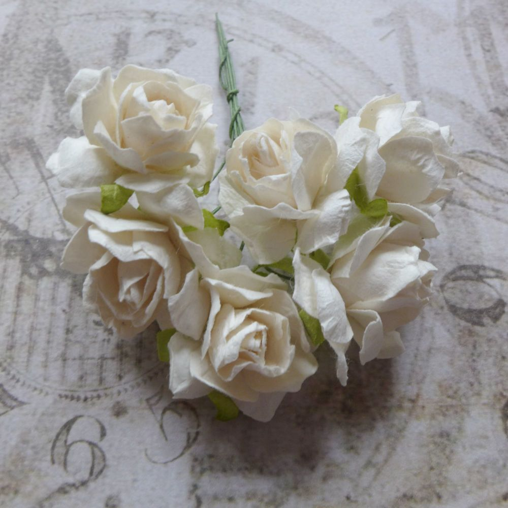 Puffy Mulberry Paper Roses ~ White (PF009)
