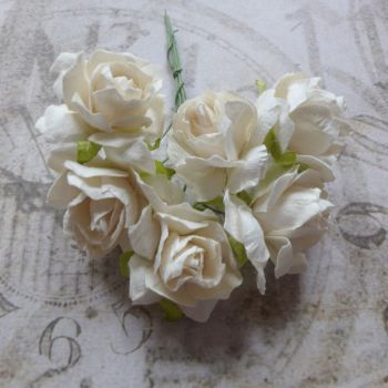 Mulberry Paper Roses ~ White (PF009)