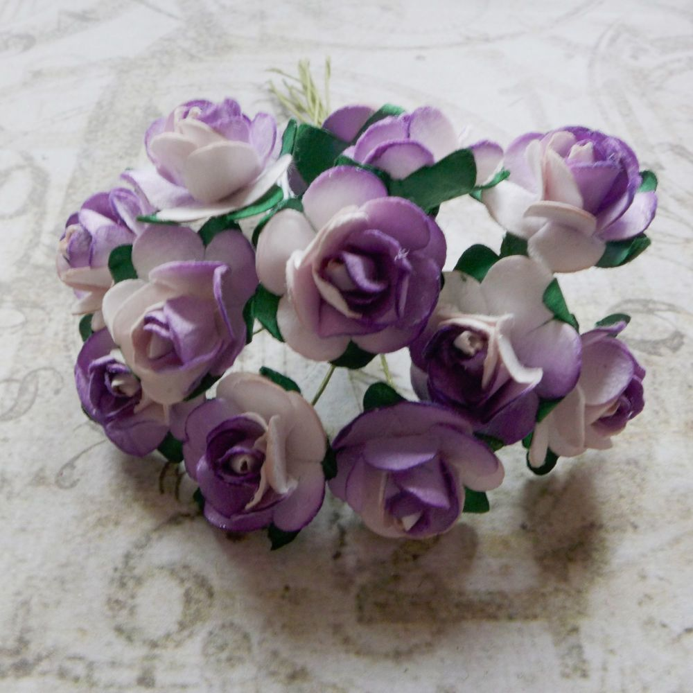 Mulberry Paper Roses ~ Lilac/White (PF012)
