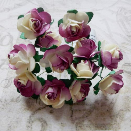 Mulberry Paper Roses ~ Wine/Cream (PF015)