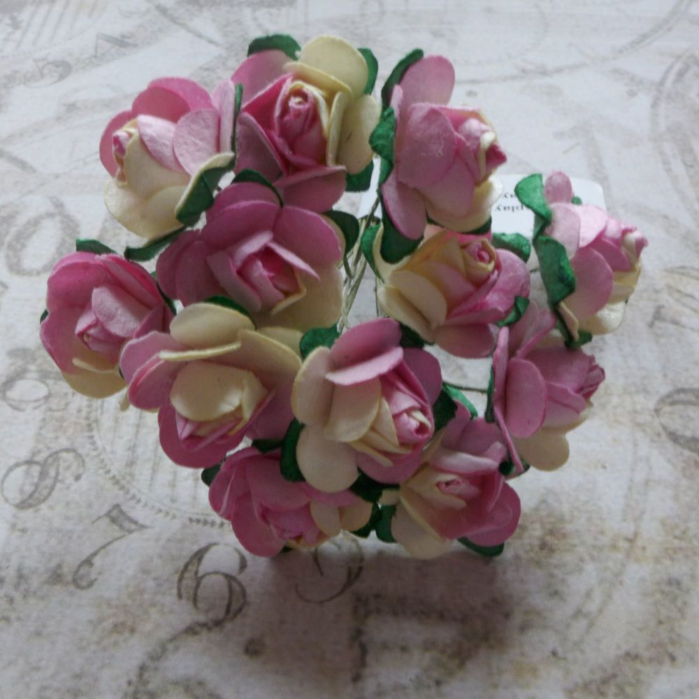 Mulberry Paper Roses ~ Pink/Cream (PF017)