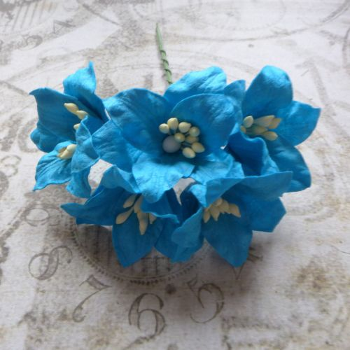 Mulberry Paper Lilies ~ Bright Blue (PF028)