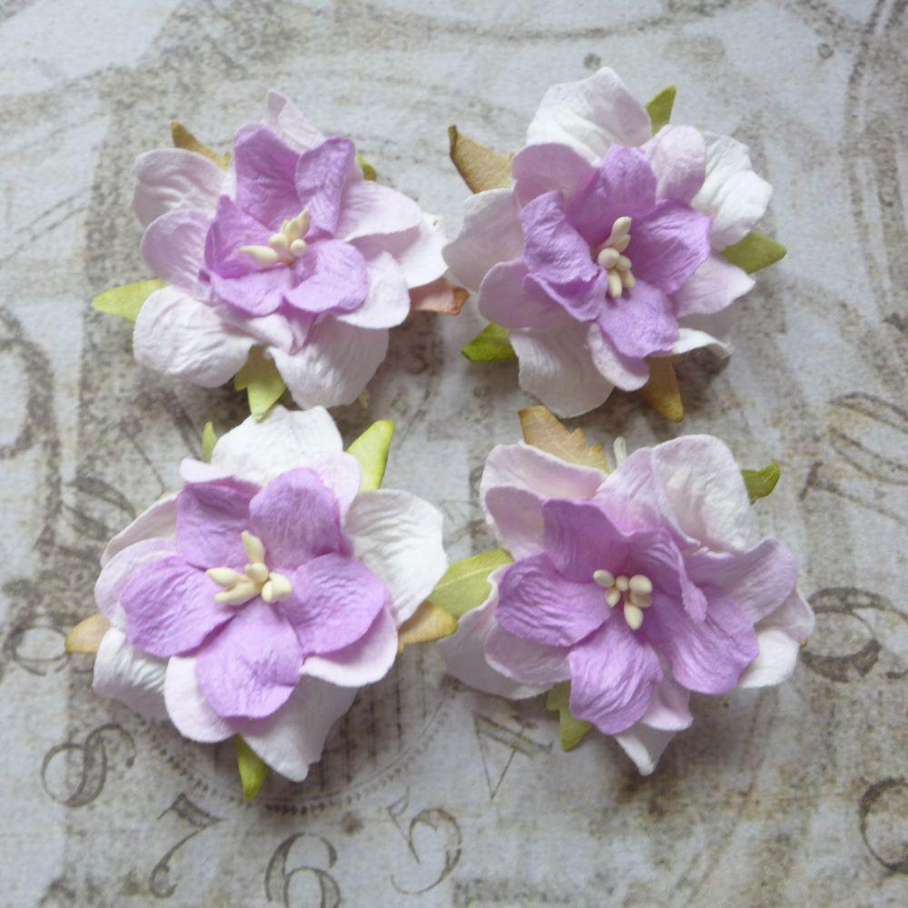 Mulberry Paper Gardenia's ~ Lilac/White Blend (PF042)