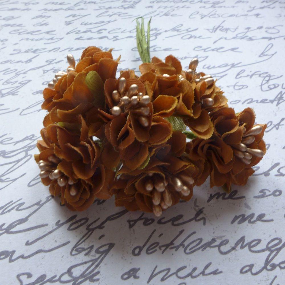 Fabric Flowers - Rusty Brown (F6007)