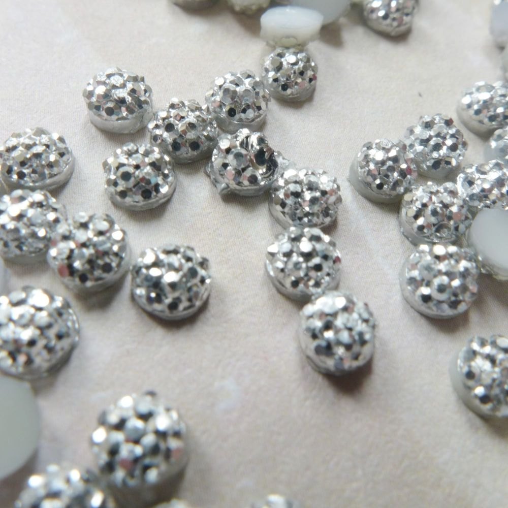Tiny Silver Sparkly Cabochons