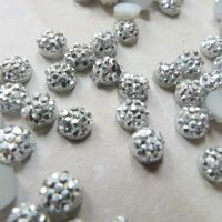 Tiny Silver Sparkly Cabochons (CA3011)