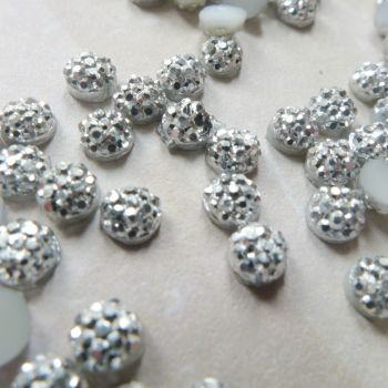 Tiny Domed Silver Sparkly Cabochons (CA3011)