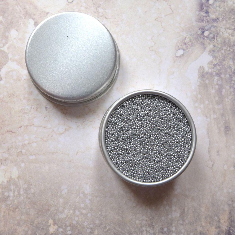 Petite Pots ~ Metallic Micro Beads Silver 01
