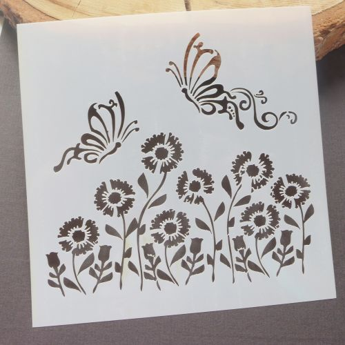Stencil ~ Butterflies & Flowers