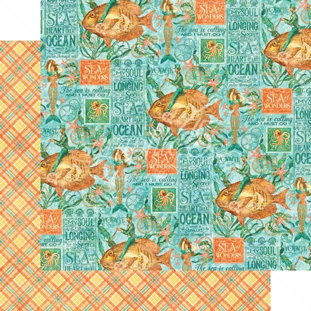 12 x 12 Papers Graphic 45 - Beneath the Sea Collection - Neptune's Adventur