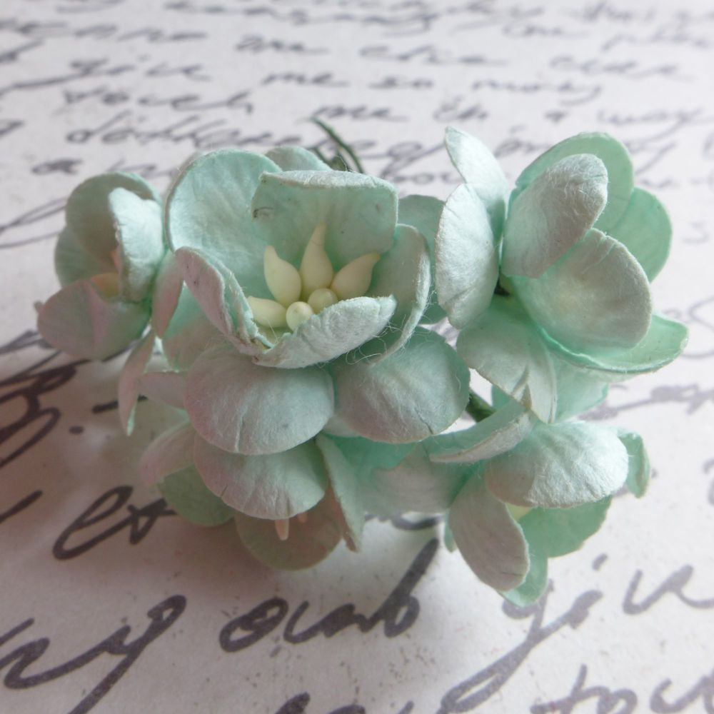 Cherry Blossom Mulberry Paper Flowers ~ Pale Mint (PF055)