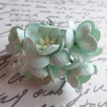 Cherry Blossom Mulberry Paper Flowers ~ Pale Mint (PF025E)
