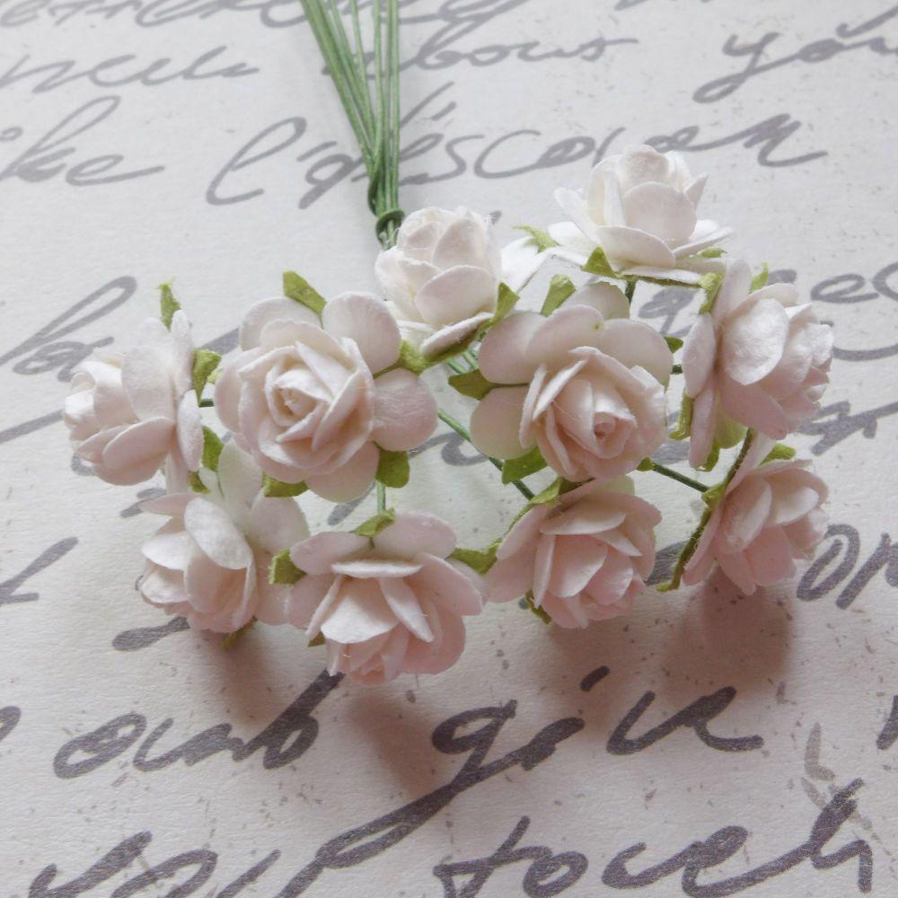 Mini Rose Flowers ~ White (PF050)