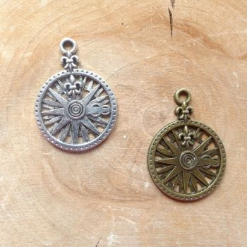 Compass Charms Silver & Bronze (C097)