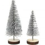 5 x Mini 3D Silver Christmas Trees