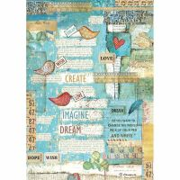 Stamperia Rice Paper A4 Patchwork Writings Little Birds & Hearts